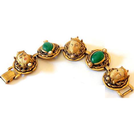 Gorgeous Selro Selini Bracelet Asian Faces and Green C