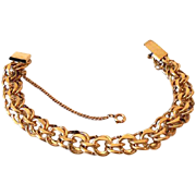 12K GF Signed Gold Fill Double Link Charm Bracelet