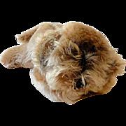 1970s Steiff Floppy Lying Down Raudi Dog Made in Germany