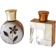 (2) Mini Perfume Bottles Mother of Pearl Clad Brass