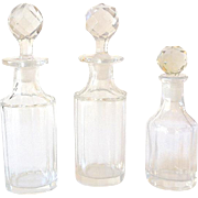 (3) Old Glass Bottles With Crystal Stoppers