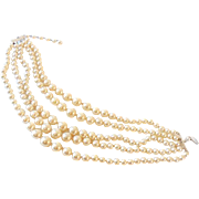 Lovely Vintage 5 Strand Faux Pearl Necklace