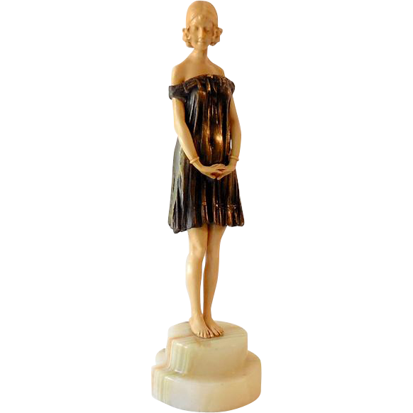 Art Nouveau Style Bronze & Composite Statue of Young Girl