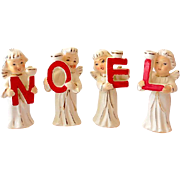 Vintage Set NOEL Christmas Angel Candle Holder Set Japan