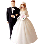 Vintage Lefton Bisque Wedding Cake Top Bell Bride & Groom