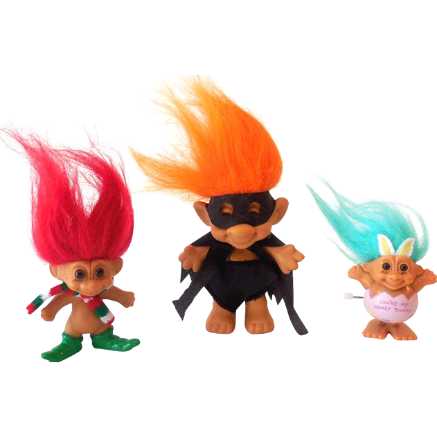 (3) Vintage Troll Dolls Robin Hood Christmas Elf & Win Up Easter Bunny