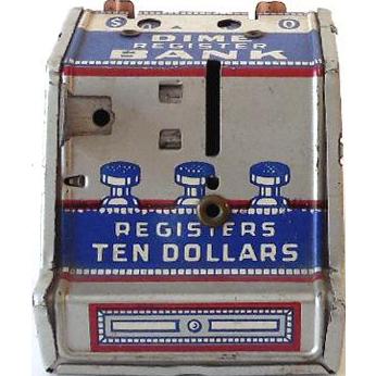 Vintage Tin Litho Dime Bank Cash Register J. Chein Co.