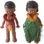 Pair Vintage Knickerbocker Hawaiian Dolls Hula Girl and Boy