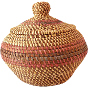 Large Hand Made American Indian Lidded Basket
