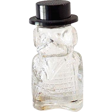 Figural Glass Perfume Bottle Well Dressed Gentleman DOG!