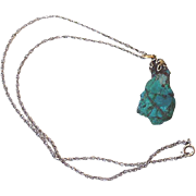 Turquoise Stone Pendant on Silver Chain