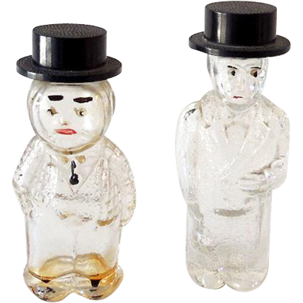 (2) Vintage Figural Glass Perfume Bottles Well Dressed Men in Hats