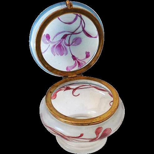 Blown Glass Hand Painted Victorian Dresser Jar Powder Jar