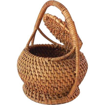 Vintage Miniature American Indian Made Basket With Attached Lid & Handle
