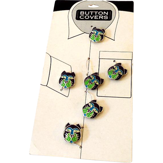Set of 6 Cloisonne Button Covers On Card Black and Green Cat Faces
