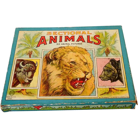 1930s Milton Bradley Children's Animal Puzzles Set of 6 in Box