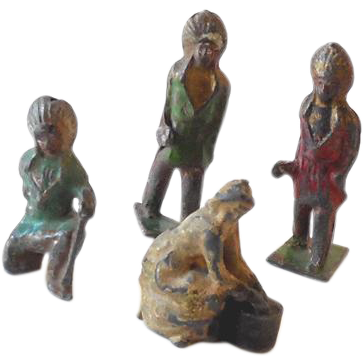 (4) Old Lead Toy Figures (3) Indians and 1 Farm Woman
