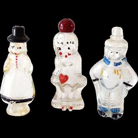 (3) Vintage Figural Glass Perfume Bottles