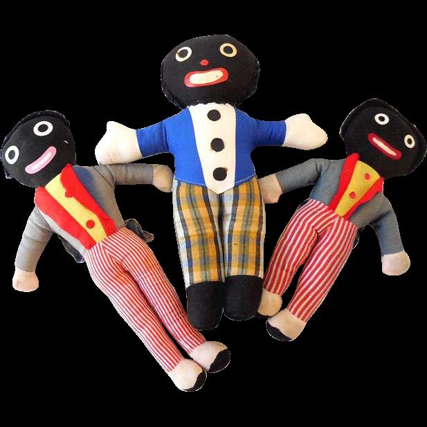 (3) Vintage Golliwog Plush Dolls