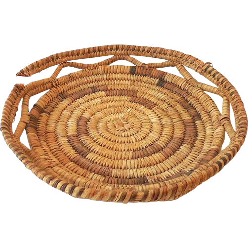 Vintage Hand Made American Indian Wedding Basket Tray