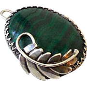 Large Vintage Malachite and Sterling Silver Navajo Pendant