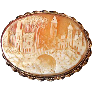 LARGE Rare Carved Shell Cameo Village Scene