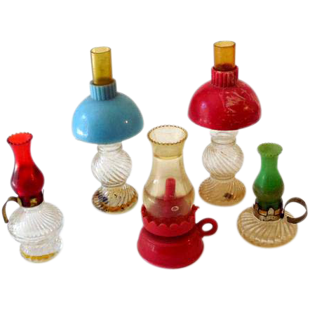 (5) Miniature Oil Lamps (3) Dollhouse (2) Perfume Bottles