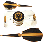 Gorgeous 1930s Art Deco Gold & Black Vanity Set (4) Piece