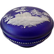 Gorgeous Satin Glass Cobalt Blue Victorian Dresser Box Powder Box