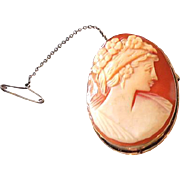 Large Vintage Hand Carved Shell Cameo With Safety Chain