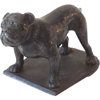 Vintage Cast Iron Bull Dog Paper Weight