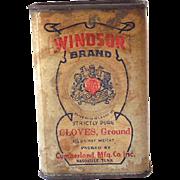 Vintage 1930s 40s Spice Tin Windsor Brand Ground Cloves