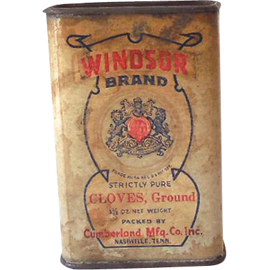Vintage 1930s 40s Spice Tin Windsor Brand Ground Cloves