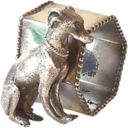 Vintage Figural Sitting Dog Silverplated Napkin Ring