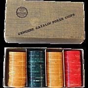 1930s Bakelite Catalin Poker Chip Set In Original Box