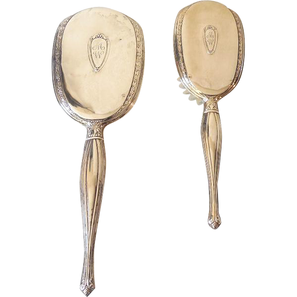 Sterling Silver Hairbrush And Vanity Handheld Mirror From