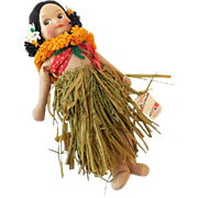 1940s Georgene Hawaiian Hula Girl Doll Near Mint