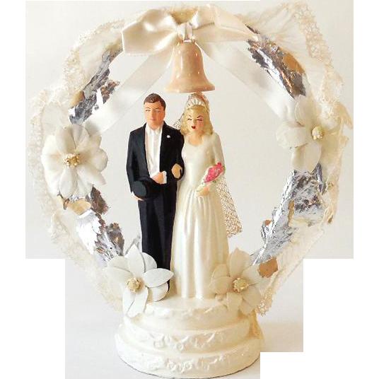 vintage chalkware wedding cake topper bride and groom nice from californiagirls on ruby lane. Black Bedroom Furniture Sets. Home Design Ideas