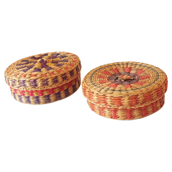 (2) Vintage Hand Woven Lidded Nesting Baskets