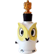 Vintage Sitzendorf Miniature Perfume Bottle Owl with Crown Top
