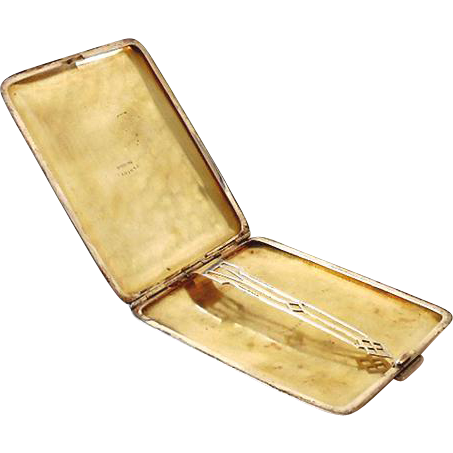 1930s Art Deco Sterling Silver Cigarette Case