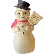 Paper Mache` Kentucky Bourbon Snowman Christmas Bottle Topper 13 Inch