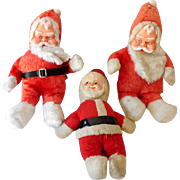 (3) Vintage Rubber Face Plush Santa Claus Dolls