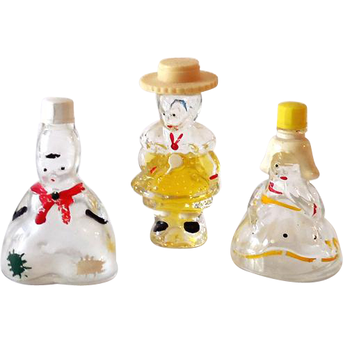 "(3) Figural Perfume Bottles For Children Marked ""Holland"""