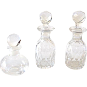 (3) Old Scent Glass and Crystal Bottles With Stoppers