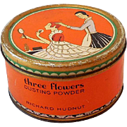 Full Size Tin Lithograph Richard Hudnut Three Flowers Powder Tin with Puff