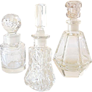 (3) Very Old Cut Crystal Scent Bottles With Fancy Stoppers