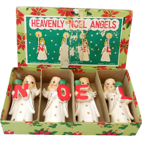 Vintage Set NOEL Angel Candle Holders in Original Box Japan