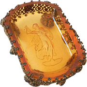 Czech Intaglio Amber Glass Open Salt In Footed Jeweled Brass Stand