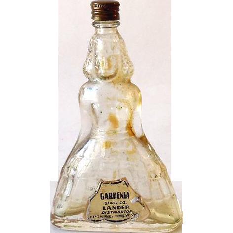 Vintage Figural Glass Perfume Bottle Lander Gardenia